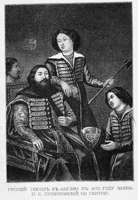 Count Pyotr Semyonovich Prozorovsky with his embassy in England in 1670