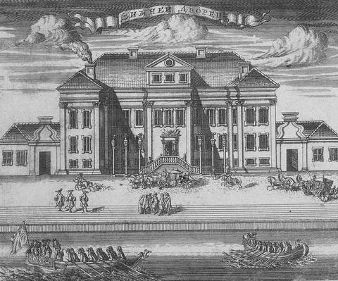 St. Petersburg. View of the Winter Palace of Peter I, 1716
