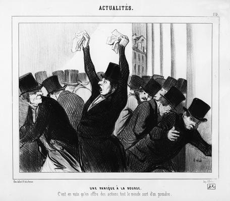 'A Panic at the Stock Exchange', caricature from 'Le Charivari', December 9, 1845