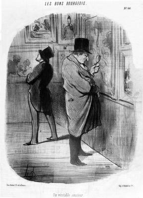 'A True Art Lover', from the series of 'Good Bourgeois' caricatures, published in 'Le Charivari', May 16, 1847