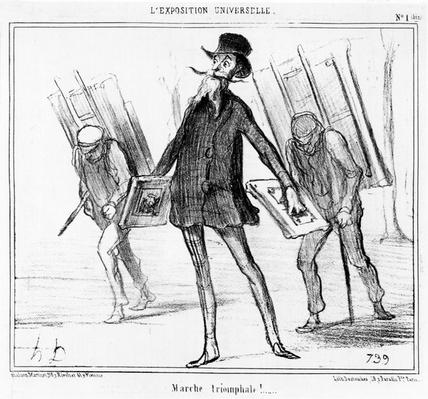 'The Triumphal March', cartoon from the 'Exposition Universelle' series, published in 'Le Charivari', 14 April, 1855