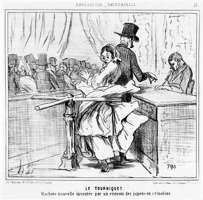 Turnstile at the Universal Exhibition in Paris, cartoon from the 'Exposition Universelle' series, published in 'Le Charivari', 26 June, 1855