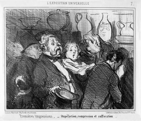 'Stupefaction, Compression and Suffocation, First Impressions at the Paris Universal Exhibition', cartoon from the 'Exposition Universelle' series, published in 'Le Charivari', 24 May, 1855