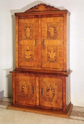 Armoire with marquetry displaying French Revolutionary motifs and slogans, end 18th century