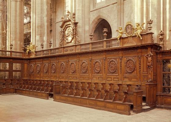 Choir stalls with medallions illustrating the life of St. Dominic, 1681-92
