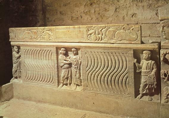 Sarcophagus of Saint Marcelle in the crypt, 5th century AD