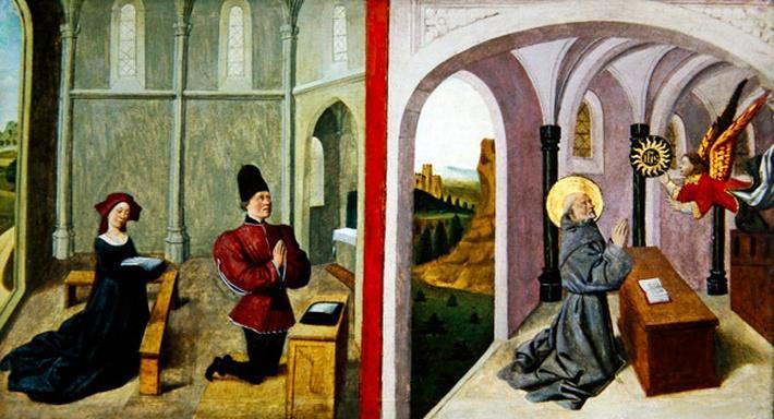 Saint Bernardino of Siena with two Donors, 1460-70