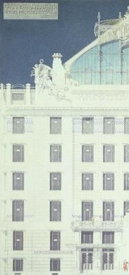 Post Office Savings Bank, Vienna, design showing detail of the facade, c.1904-06