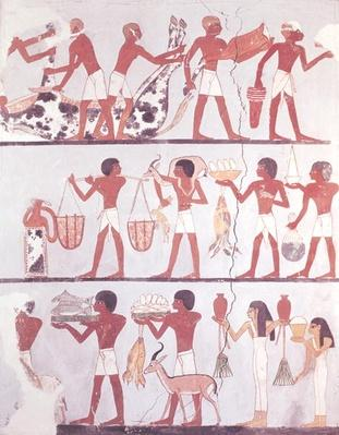Scene of butchers and servants bringing offerings, from the Tomb of Onsou, c.1375 BC