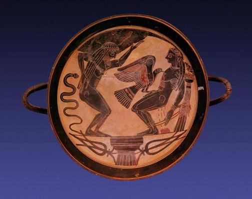 Black figure kylix depicting Atlas holding up the sky and Prometheus bound with an eagle picking out his liver, c.555 BC