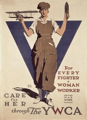 For Every Fighter a Woman Worker, 1st World War YWCA propaganda poster