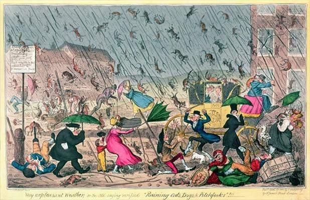 "Very Unpleasant Weather, or the Old Saying verified ""Raining Cats, Dogs and Pitchforks!"", pub. by G. Humphrey, 1820"
