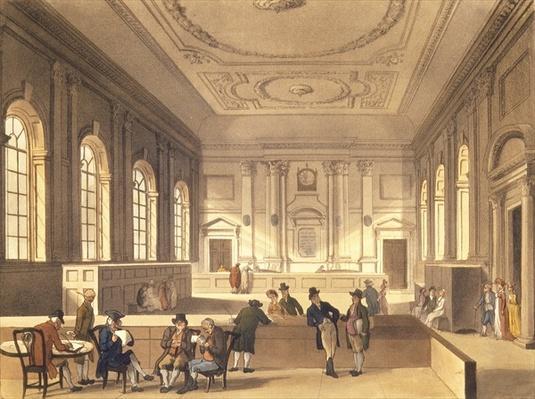 Dividend Hall at South Sea House, pub. by R. Ackermann, 1810
