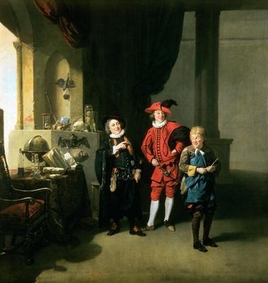 David Garrick with William Burton and John Palmer in 'The Alchemist' by Ben Jonson, 1770