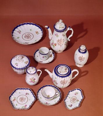 Part of a Worcester monogrammed tea service, c.1775