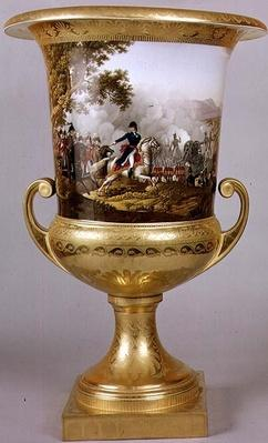 Urn depicting the Duke of Wellington in a battle scene from the Prussian Dinner Service, Berlin, 1816-19