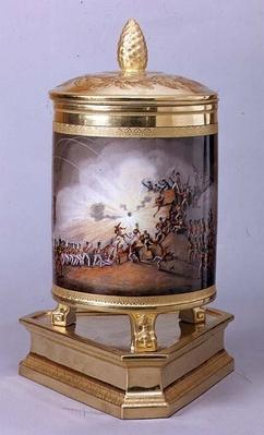 Covered pot depicting the Storming of Ciudad Rodrigo, from the Prussian Dinner Service, Berlin, 1816-19