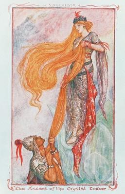 The Ascent of the Crystal Tower, illustration to 'Zouluisia' from one of the coloured Fairy Books by Andrew Lang, early 20th century