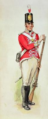 British soldier in Napoleonic times carrying a musket