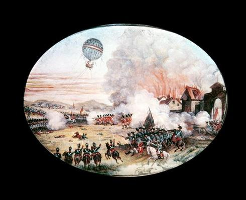 The French observation balloon 'L'Entreprenant' hovering above the Battle of Fleurus, 1794