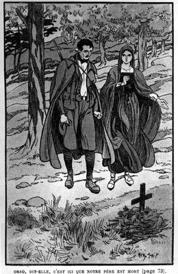 Colomba and her brother Orso beside their father's grave, illustration from 'Colomba' by Prosper Merimee, pub.1930