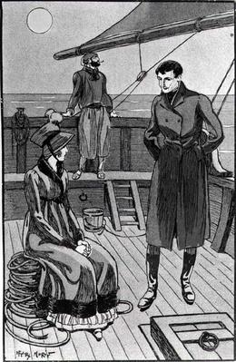 The meeting between Orso and Miss Nevil on deck, illustration from 'Colomba' by Prosper Merimee, pub. 1930