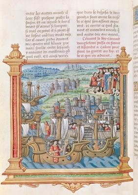 Ms.18 f.109v Edward IV of England landing in Calais, from the 'Memoires de Philippe de Commines'