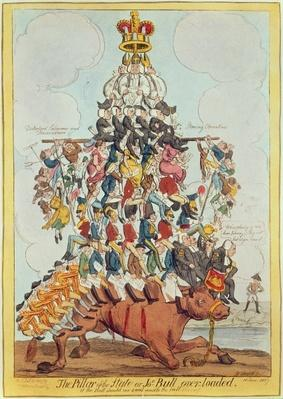 The Pillar of the State, or John Bull Overloaded, after Cruikshank in 1819, 1827