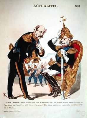 'Ah good, Bismarck! What victory have you come to tell me about ?...', caricature of Kaiser Wilhelm