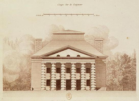 Elevation of the house of the director of the salt works in the 'ideal city' of Chaux, engraved by Louis Sellier