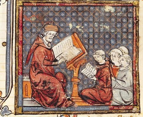 F.277r A Philosopher teaching in Paris, from the Grandes Chroniques de France, 1375-79