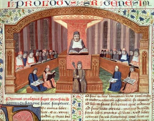 Ms 129 f.32 A Lesson in Theology at the Sorbonne, from Postilles sur le Pentateuch, illustration to text written by Nicolas de Lyre