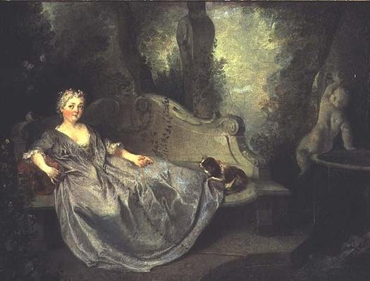 Portrait of a Lady in a Garden, 1730