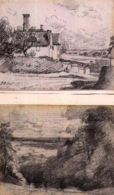 A Manor House, 1815, and Dedham from near Gun Hill, Langham, c.1815