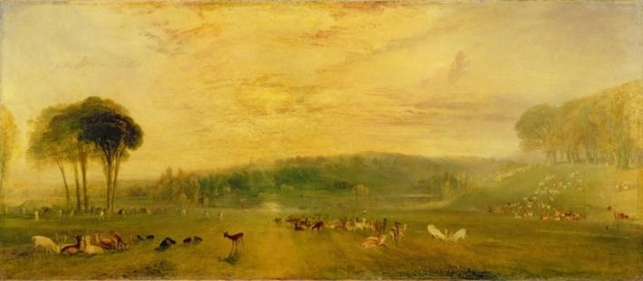 The Lake, Petworth: Sunset, Fighting Bucks, c.1829