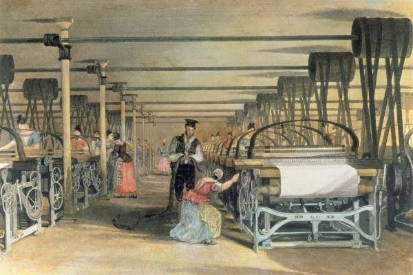 Power loom weaving, 1834