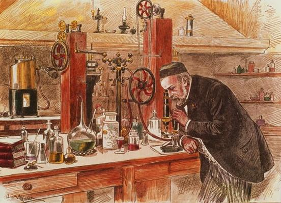 Louis Pasteur experimenting for the cure of hydrophobia in his laboratory, c.1885, pub. c.1895