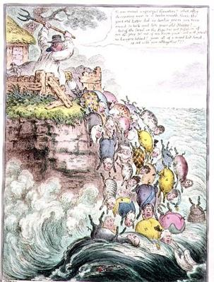 The Pigs Possessed, or the Broad bottomed Litter running headlong into the Sea of Perdition, 1807