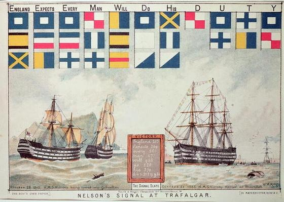 Nelson's signal at Trafalgar in 1805, from 'The Boy's Own Paper' to commemorate HMS Victory moored at Portsmouth, 1885