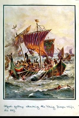Alfred's galleys attacking the Viking Dragon ships, 897 AD, illustration from 'Hutchison's Story of the British Nation', c.1920