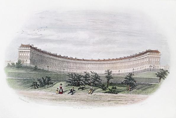 Royal Crescent, Bath, from the park, engraved by J. Shury, c.1840
