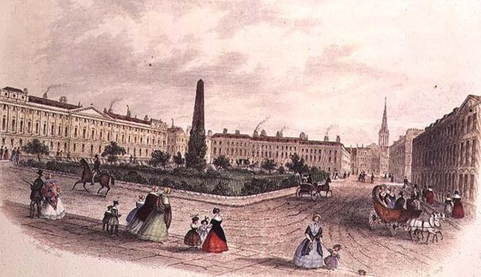Queen Square, Bath, engraved by J. Shury, c.1840