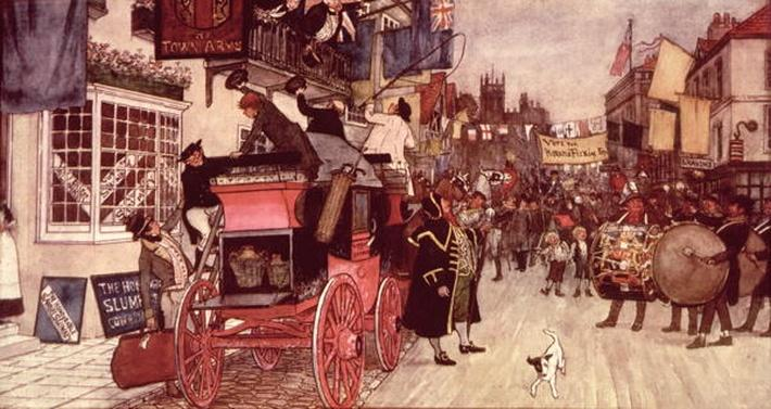 The Election Parade at Eatanswill, from 'The Pickwick Papers'