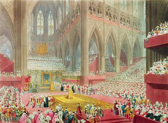 The Coronation of King George IV: The Recognition, 19th July 1821, engraved by Matthew Dubourg, 1822
