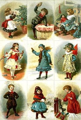 Christmas cards depicting various children's activities, pub. by Leighton Bros., 1882