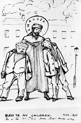 William Morris and Edward Burne-Jones being blessed by Chaucer, cartoon, 1896