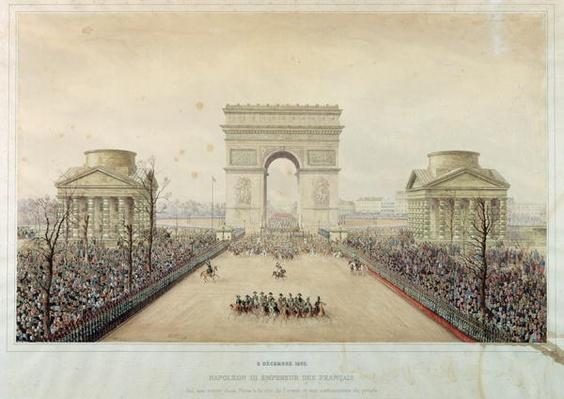 Entry of Napoleon III into Paris, through the Arc de Triomphe, on 2nd December 1852