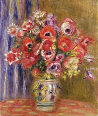 Vase of Tulips and Anemones, c.1895