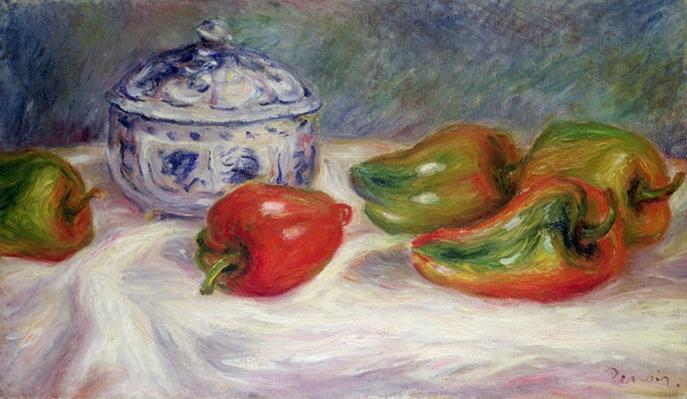 Still life with a sugar bowl and red peppers, c.1905