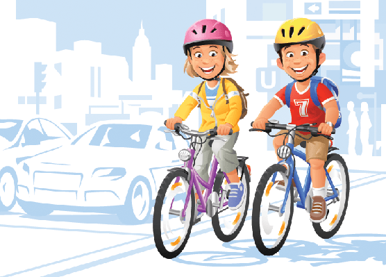 Cities - Children on Bikes | Clipart